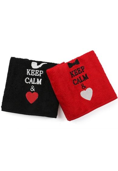 Kring Комплект кърпи  His&Hers, 2 броя, Keep calm, памук 100%, Черна/Червена Жени