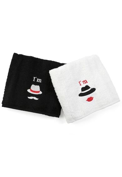 Kring Комплект кърпи  His&Hers, 2 броя, Hats, памук 100%, Бяла/Черна Жени