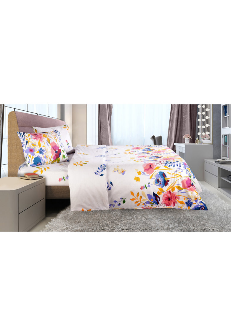 Lenjerie de pat pentru 2 persoane  bumbac - 4 piese - decor floral Serenity - 144TC de la Heinner Home