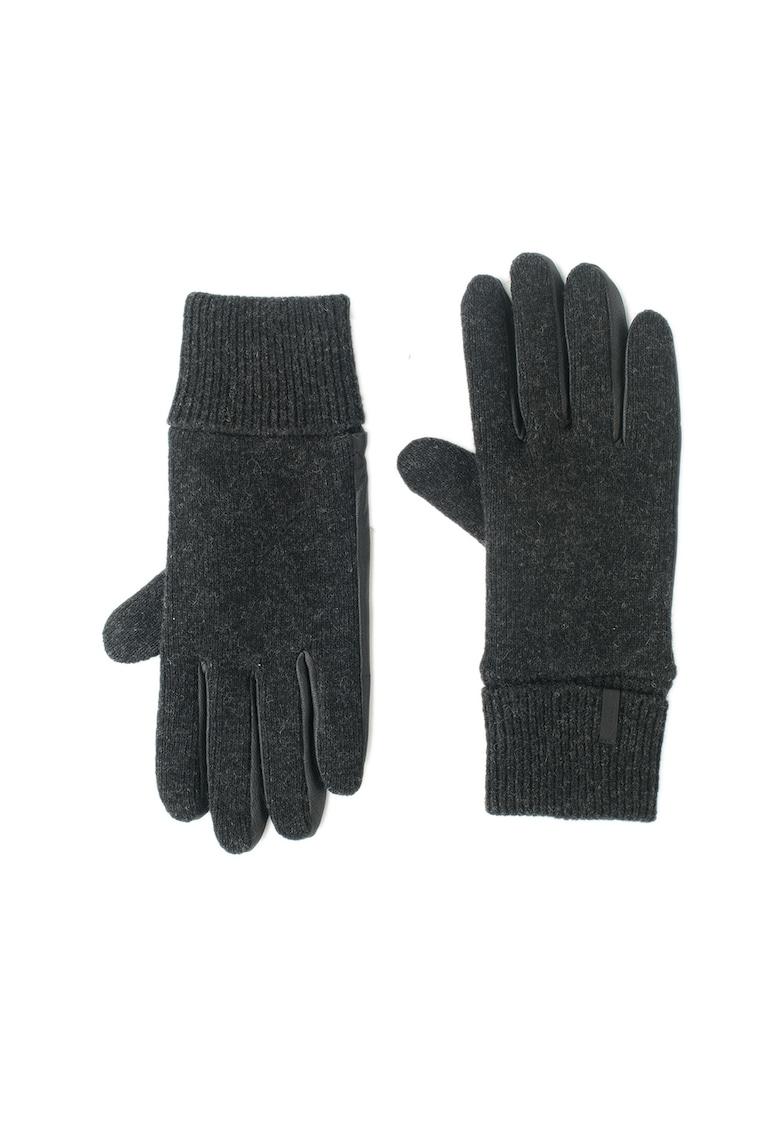 Manusi tricotate fin din amestec de lana cu insertii de piele Bhric thumbnail