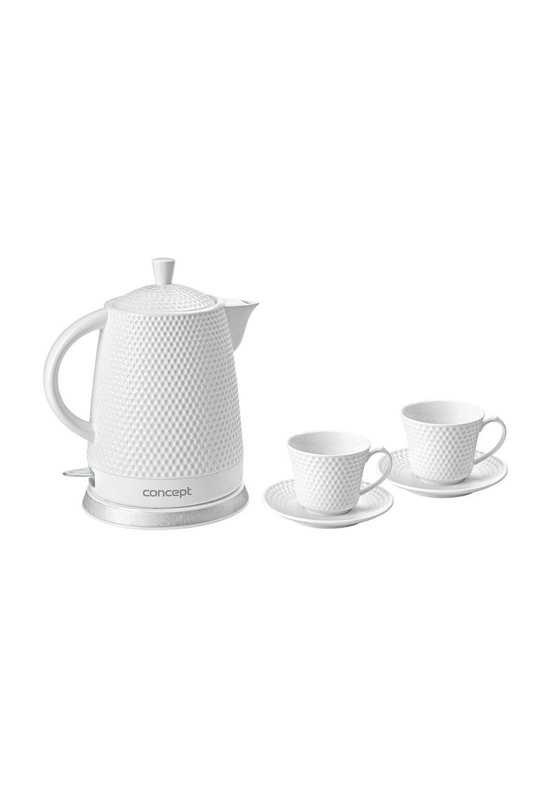 Fierbator - 1500 W - 1.5 l - ceramic - Alb + setul contine 2 cesti + 2 farfurii