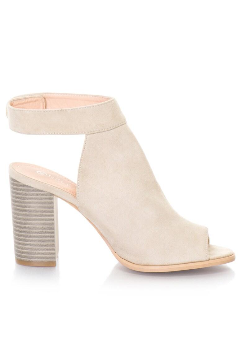 Release Sandale cu toc masiv si bareta pe glezna –  Imitatie de piele intoarsa – 36 – Crem