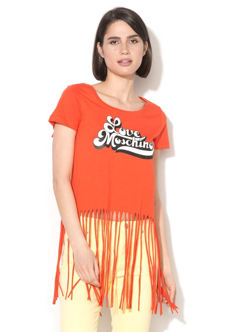 Tricou cu margini franjurate si decolteu rotund Love Moschino fashiondays.ro