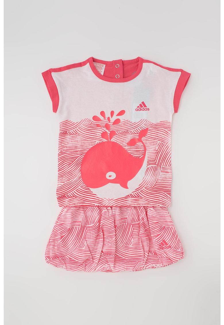 Set de tricou cu imprimeu si fusta bufanta de la Adidas PERFORMANCE