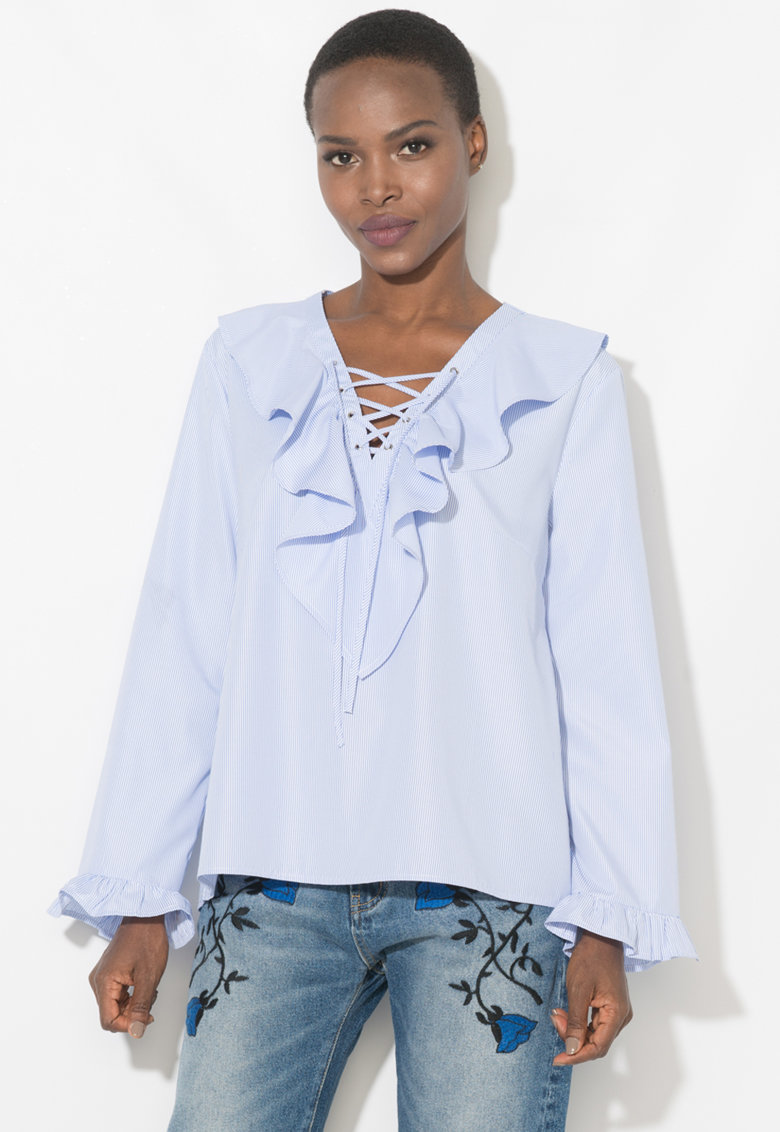 Zee Lane Denim Bluza in dungi cu volane
