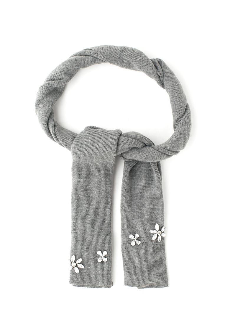 Fular din tricot fin decorat cu strasuri