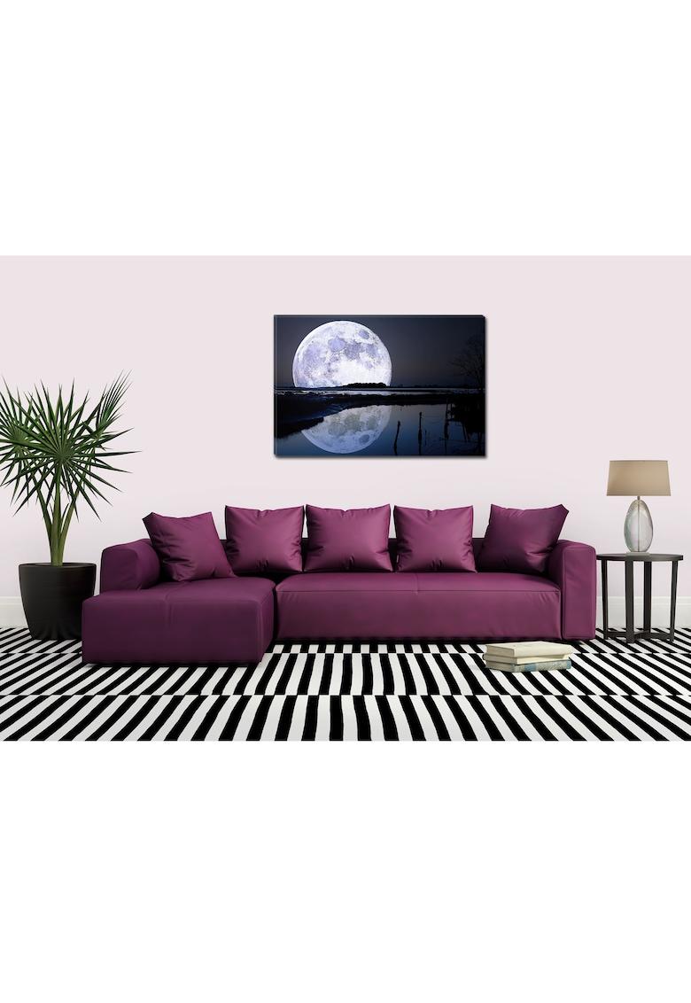 Tablou DualView  Luna Plina Uriasa - Albastru - Luminos in intuneric - 70 x 100 cm