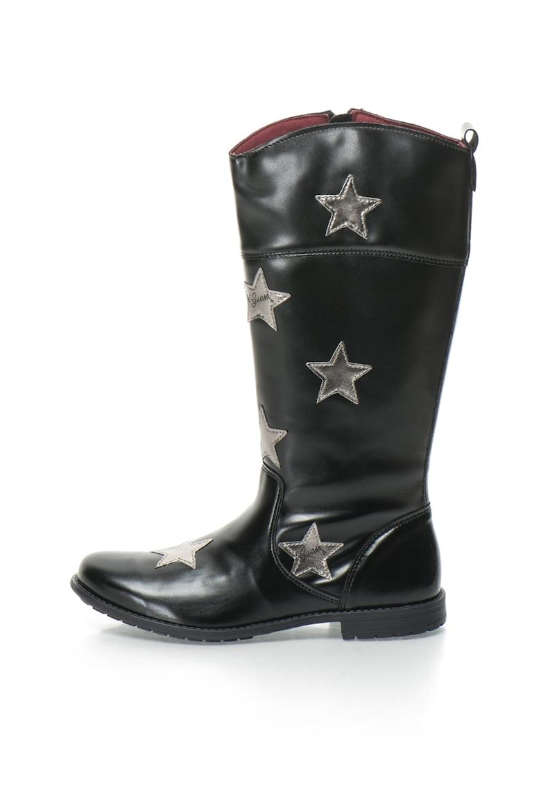Cizme de piele sintetica inalte pana la genunchi cu aplicatie cu stele de la GUESS JEANS