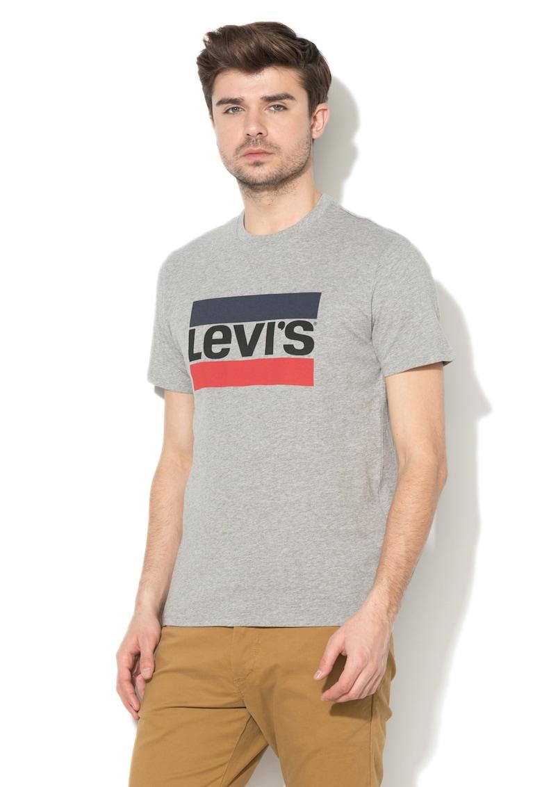 Tricou cu decolteu la baza gatului si logo contrastant 6 imagine