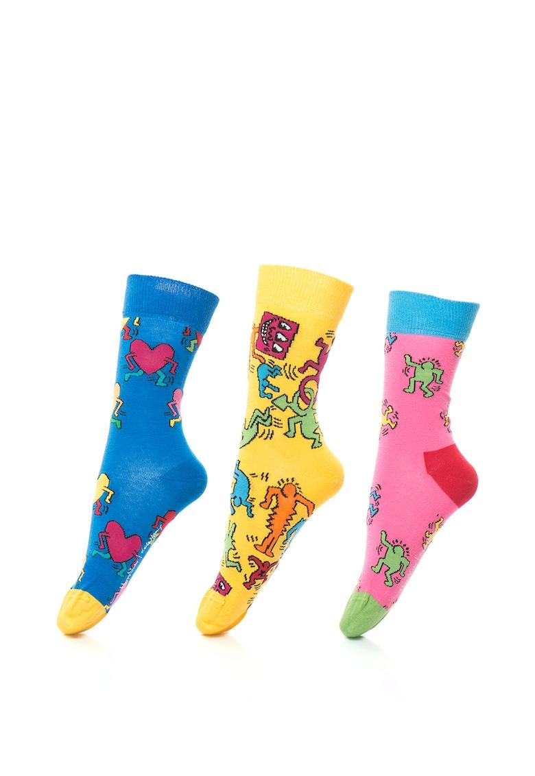 Happy Socks Set de sosete cu model grafic – Unisex – 3 perechi