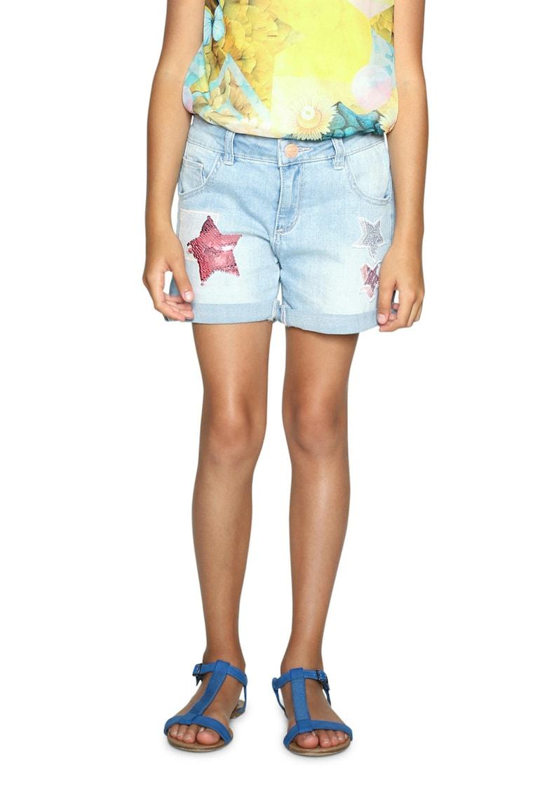Pantaloni scurti din denim cu aplicatii cu paiete