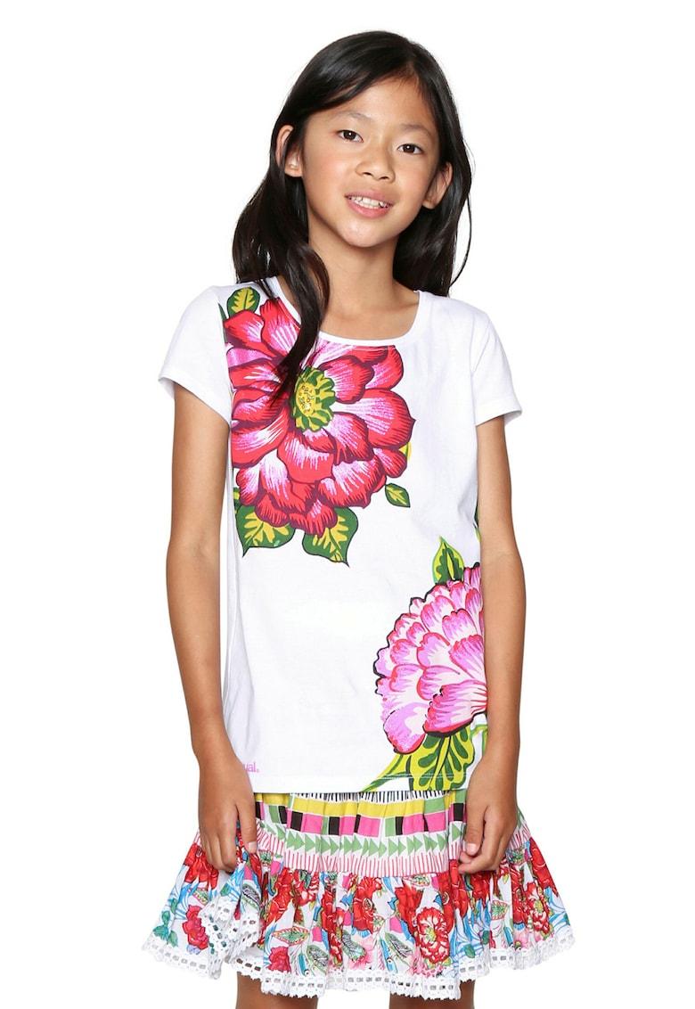 DESIGUAL Tricou cu decolteu rotund si imprimeu floral