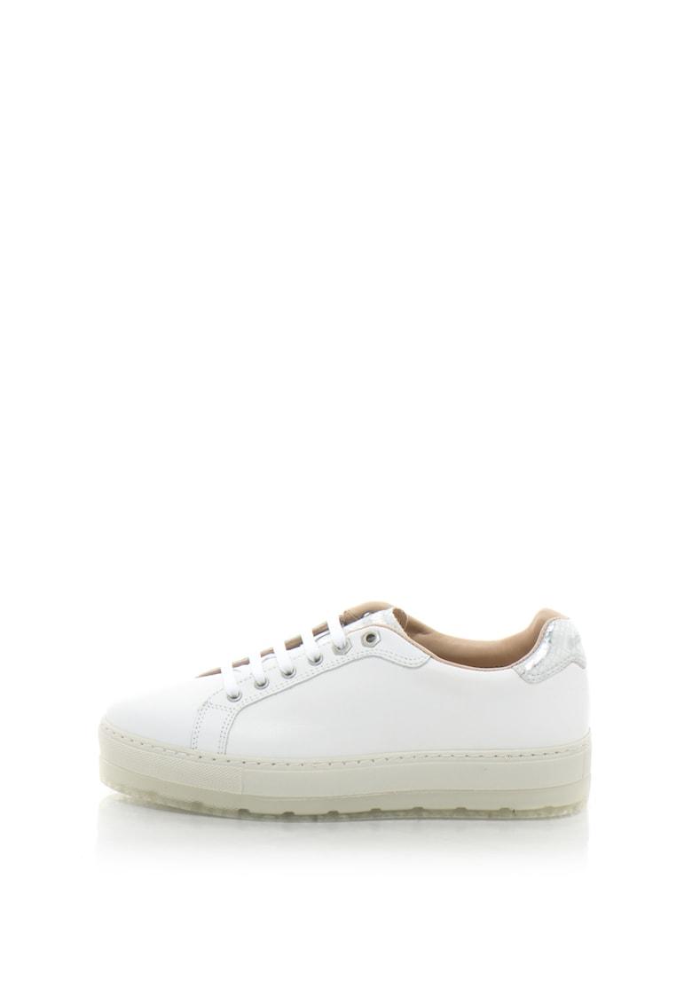 Pantofi sport flatform de piele cu insertii cu model reptila S-ANDYES