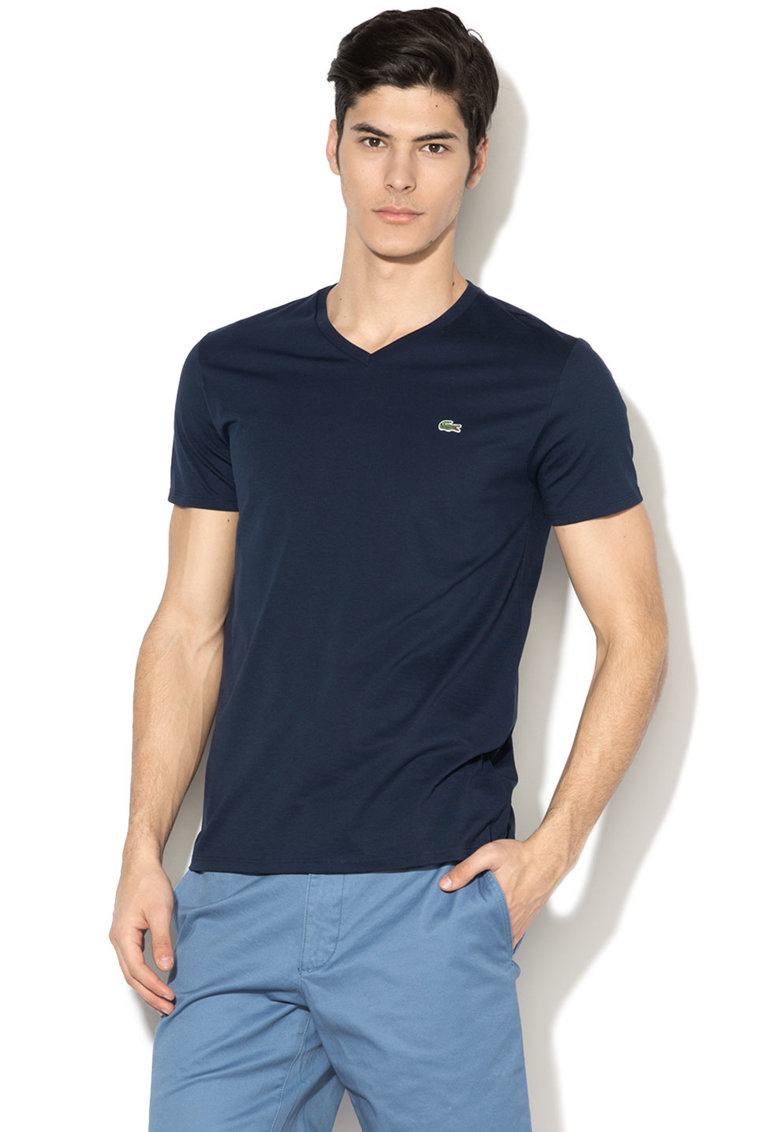 Tricou regular fit cu decolteu in V Lacoste