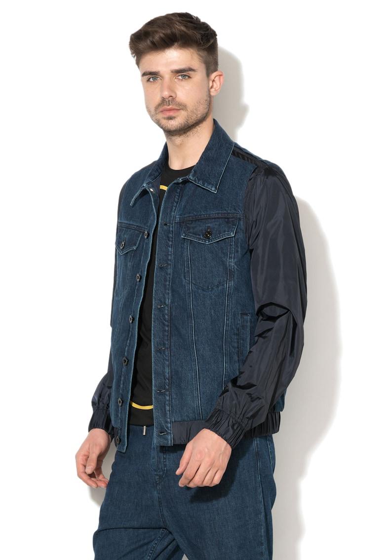 Jacheta din denim cu maneci contrastante Jomary