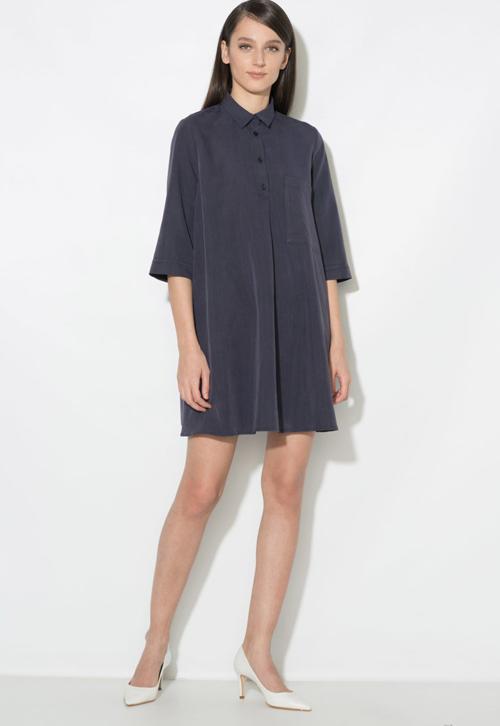 Zee Lane Collection Rochie tip camasa evazata – cu buzunar aplicat pe piept