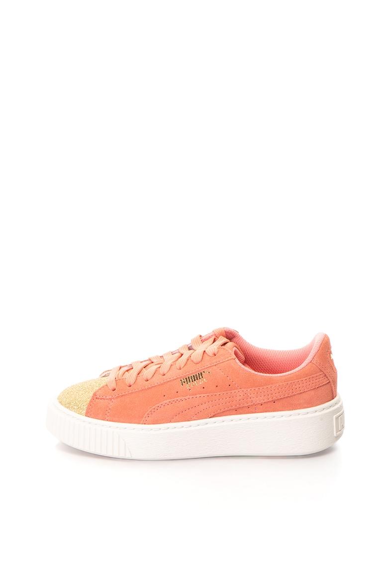 Pantofi sport de piele intoarsa cu insertii stralucitoare si platforma Glam
