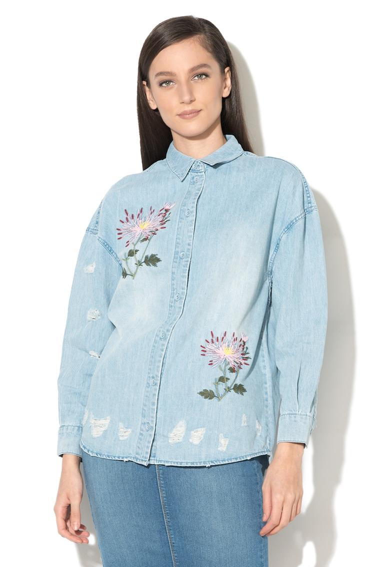 66e524b087 Flora farmering virágos hímzéssel - Only (15151463-LIGHT-BLUE-DENIM)