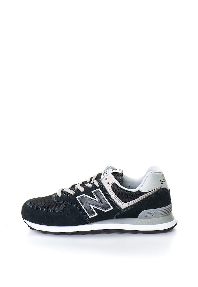 Pantofi sport de piele intoarsa cu insertie de plasa 574