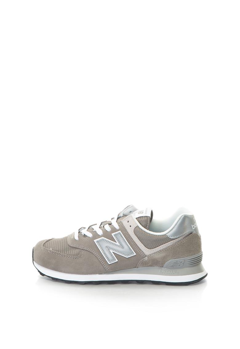Pantofi sport cu insertii de piele intoarsa si logo reflectorizant 574 Classic