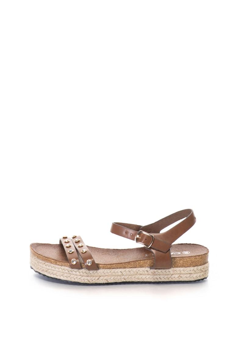 Sandale wedge de piele sintetica - cu strasuri Bacardi
