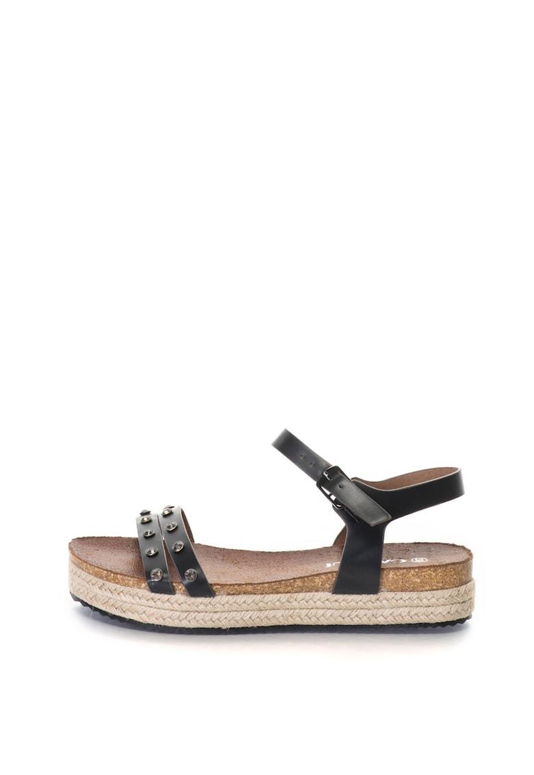 Oakoui Sandale wedge – de piele sintetica – cu strasuri Bacardi