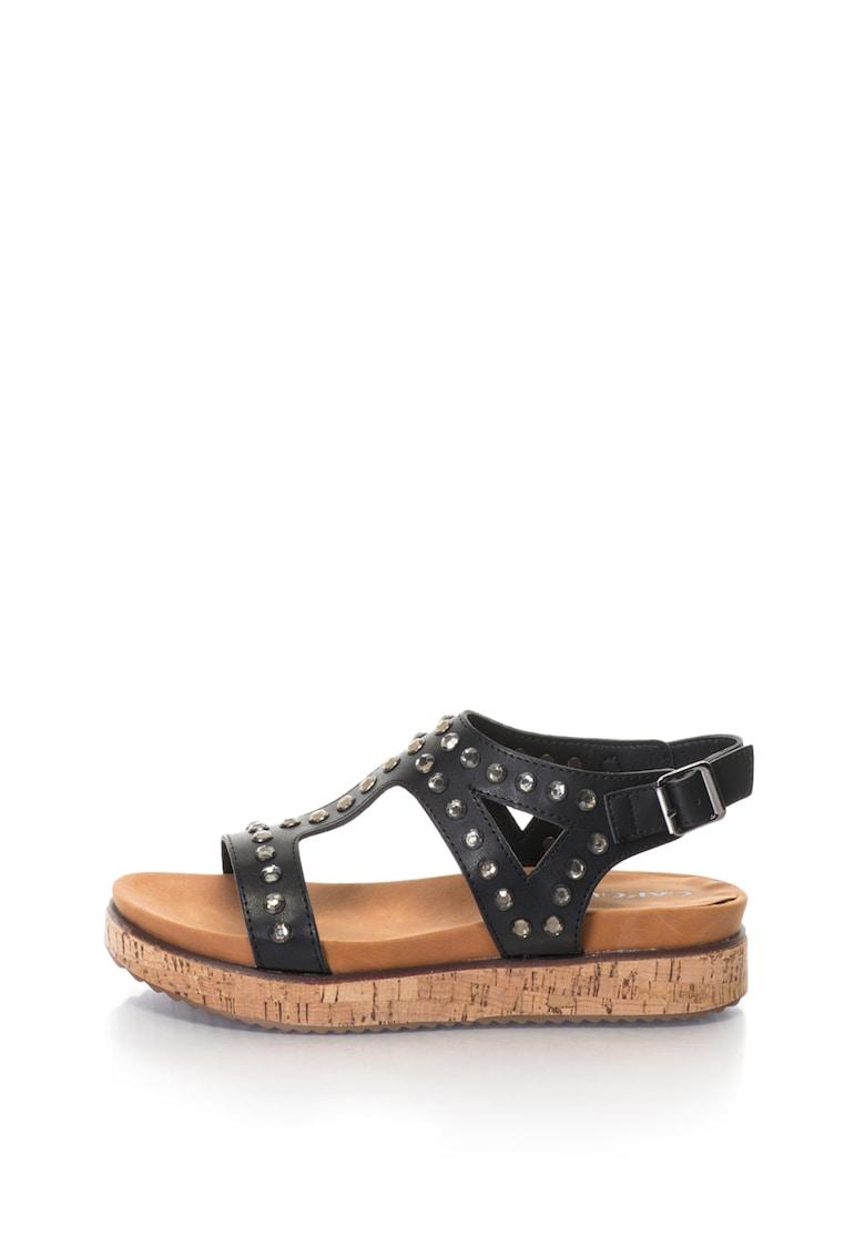 Oakoui Sandale de piele sintetica – cu platforma si strasuri Gianna