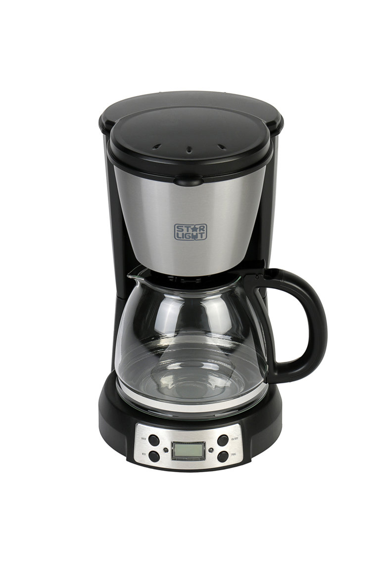Cafetiera - 900 W - 1.5 l - display LCD - timer - anti-picurare - Negru/Inox