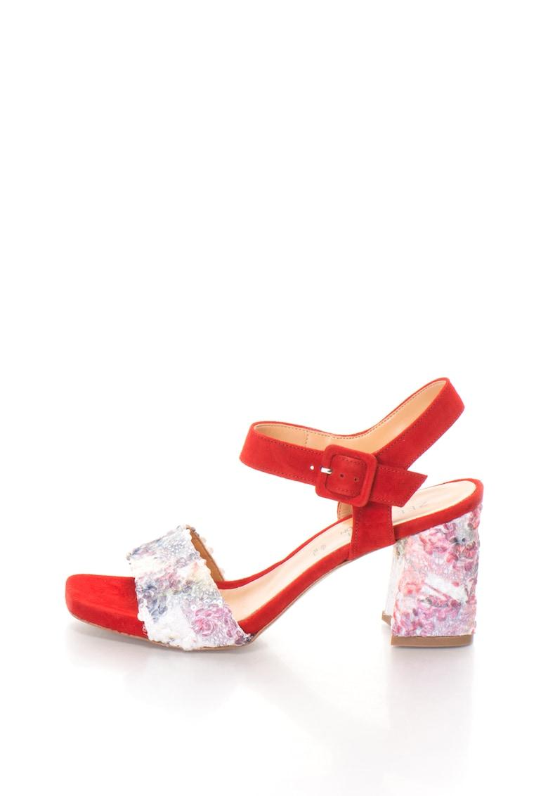 Zee Lane Collection Sandale slingback de piele intoarsa cu detalii contrastante