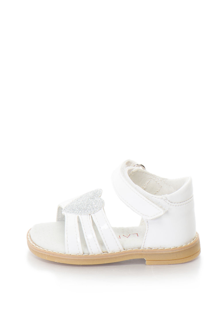 Sandale de piele sintetica cu bareta pe glezna si aplicatie cu inima de la Zee Lane
