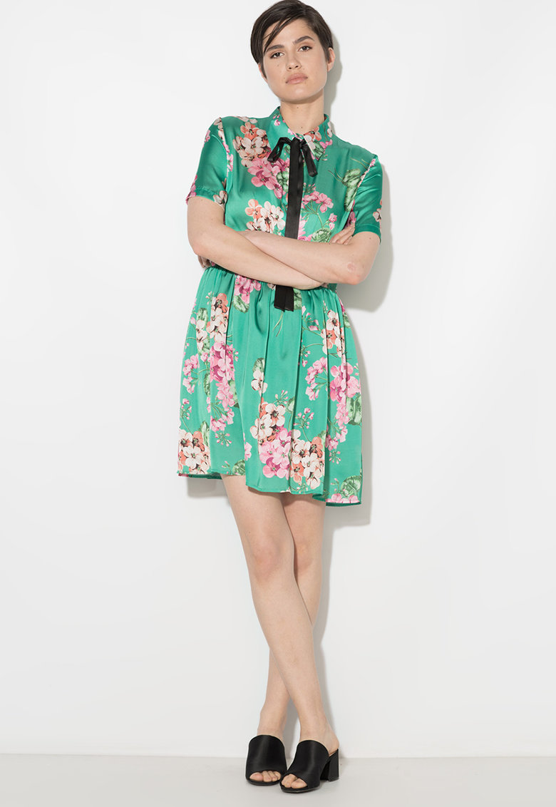 Zee Lane Collection Rochie cu model floral si funda din panglici