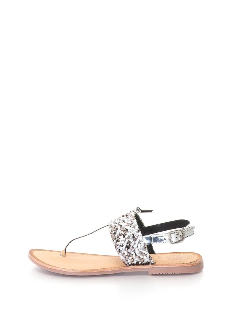 Sandale cu bareta separatoare si detaliu cu aspect tesut Gioseppo