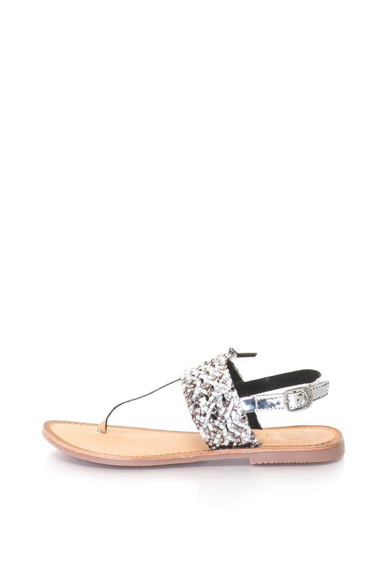 Sandale cu bareta separatoare si detaliu cu aspect tesut
