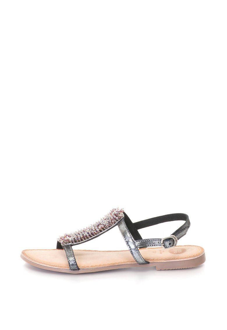 Sandale slingback decorate cu strasuri si margele
