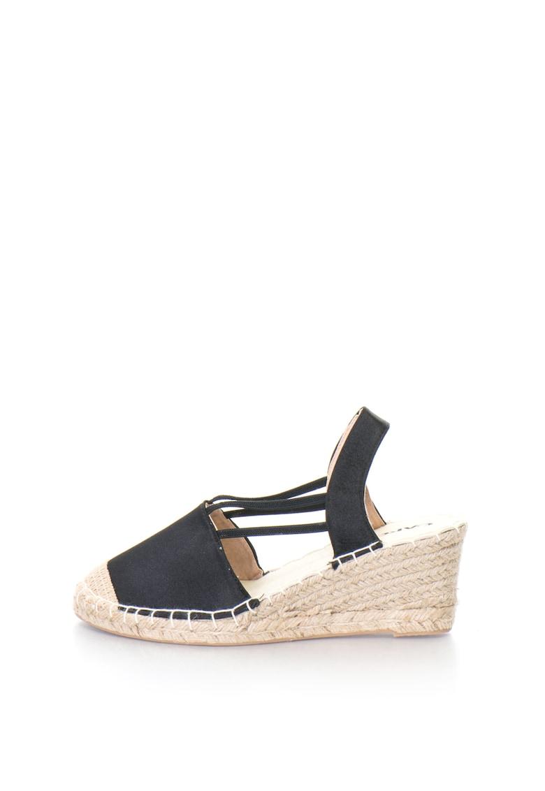 Sandale wedge slingback tip espadrile cu aspect de satin GLOSSY Oakoui