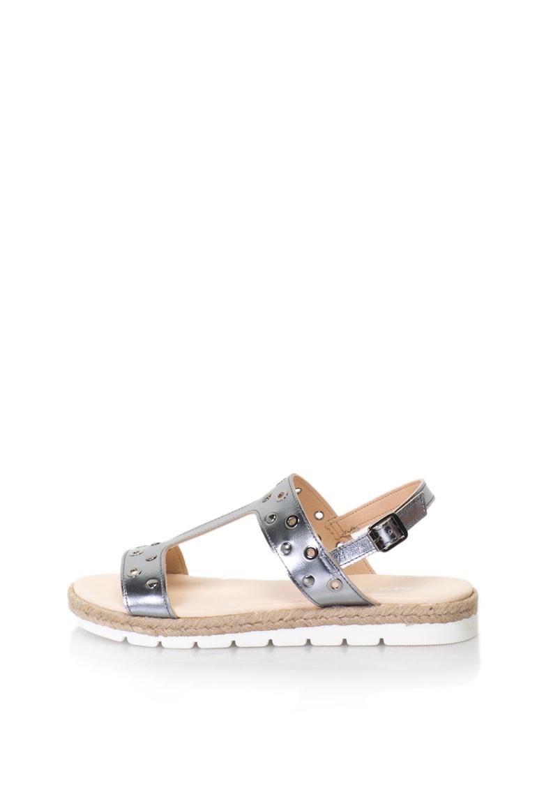Oakoui Sandale de piele cu bareta in forma de T si aspect metalizat