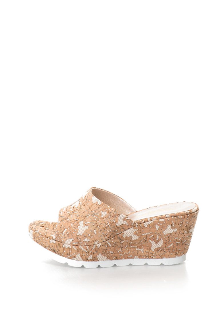 Papuci wedge cu model abstract