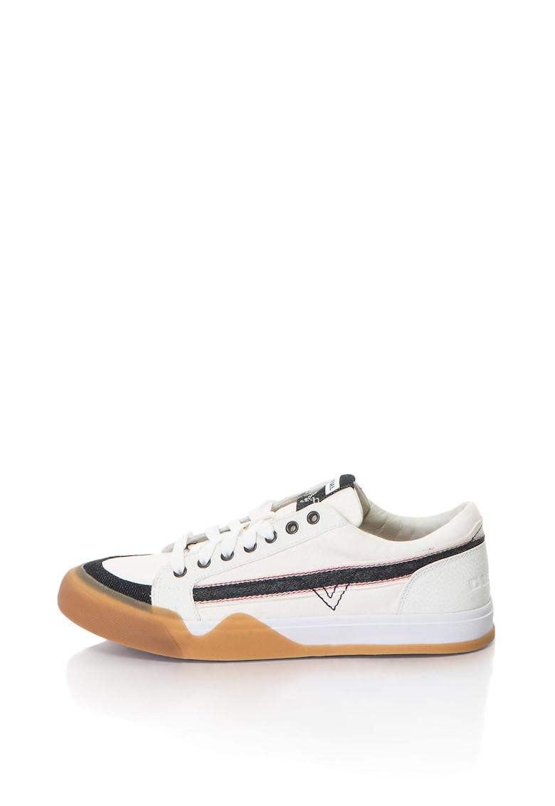 Diesel Pantofi sport de piele cu garnituri din material textil