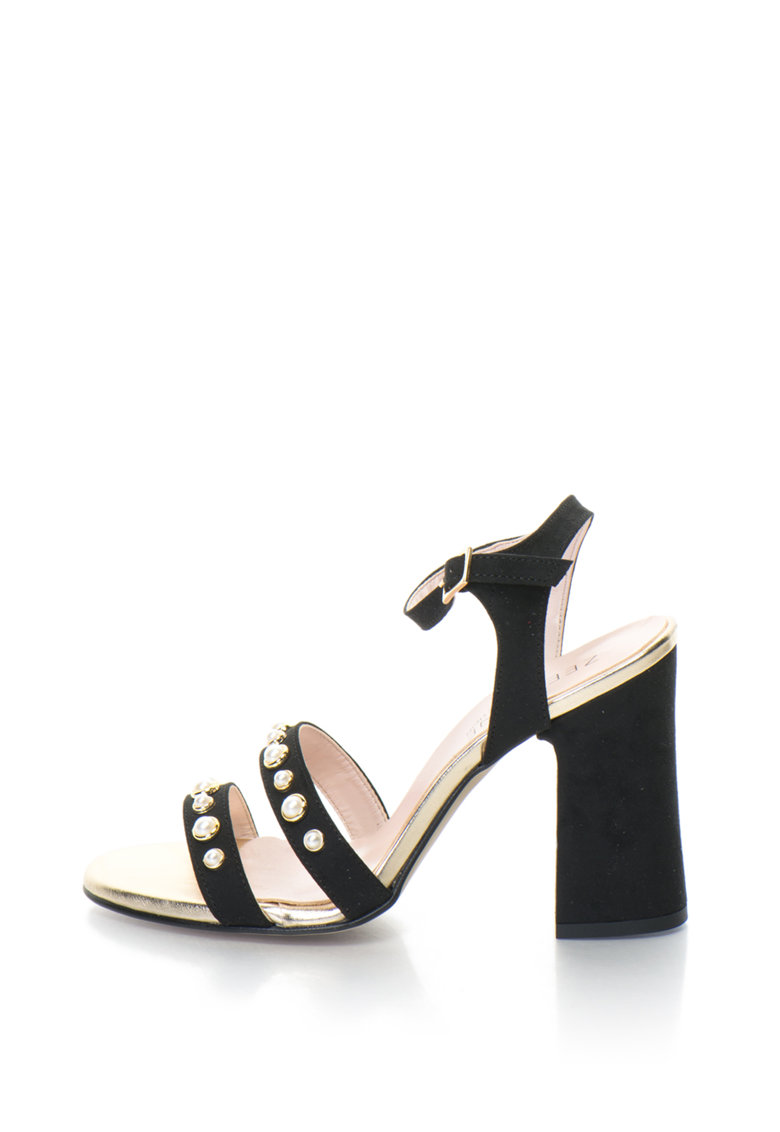 Zee Lane Collection Sandale cu toc inalt decorate cu perle sintetice
