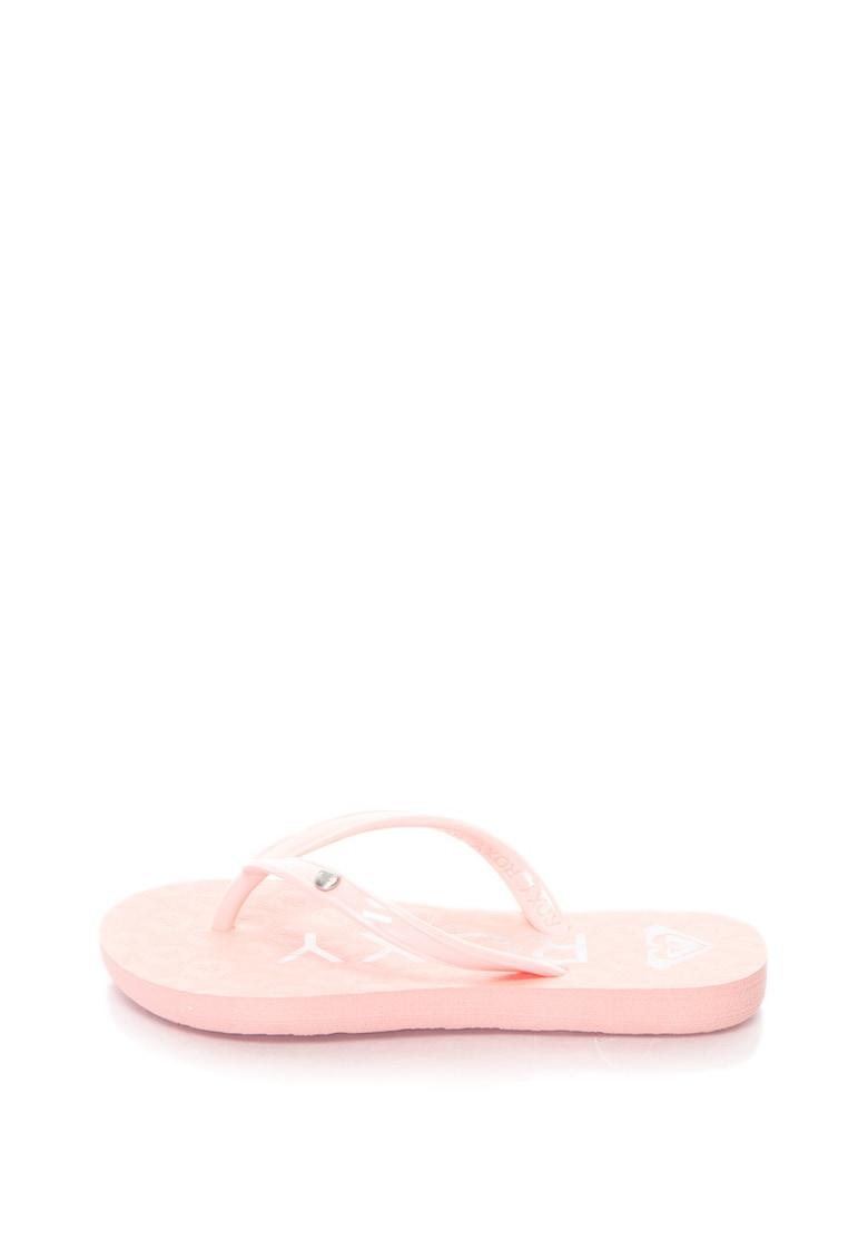 Papuci flip-flop cu imprimeu logo de la ROXY
