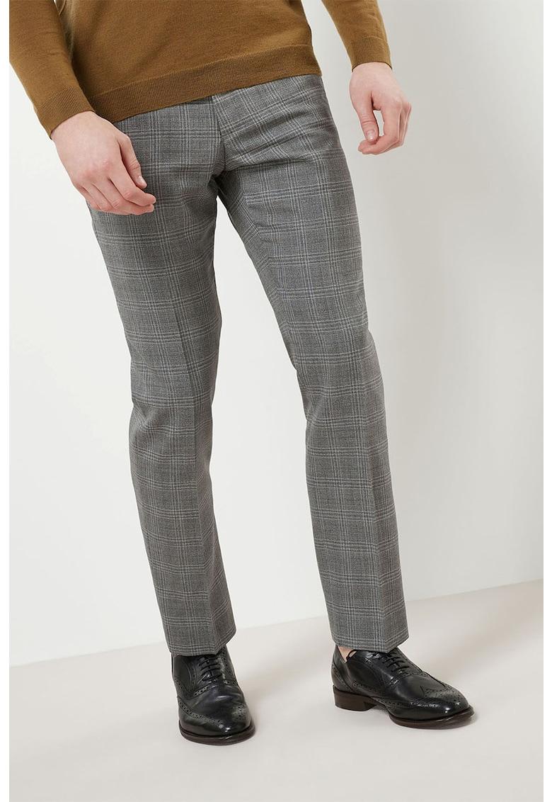 Pantaloni de lana cu model in carouri