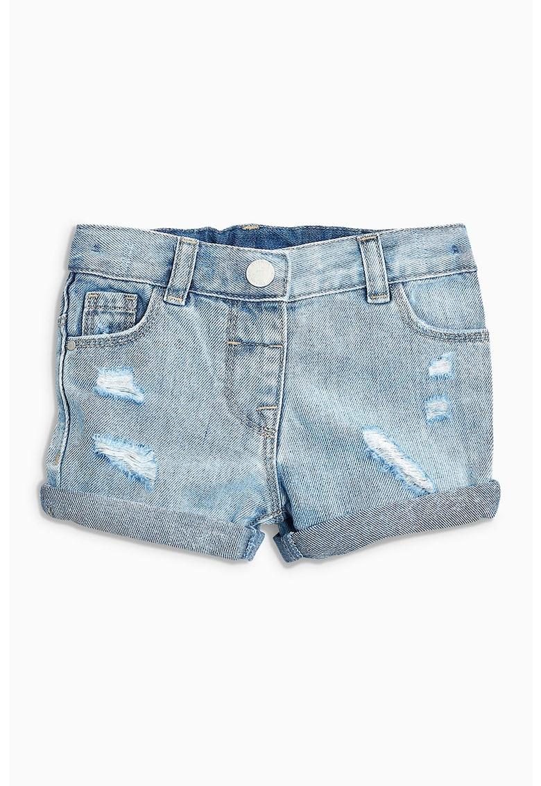Pantaloni scurti din denim cu aspect deteriorat