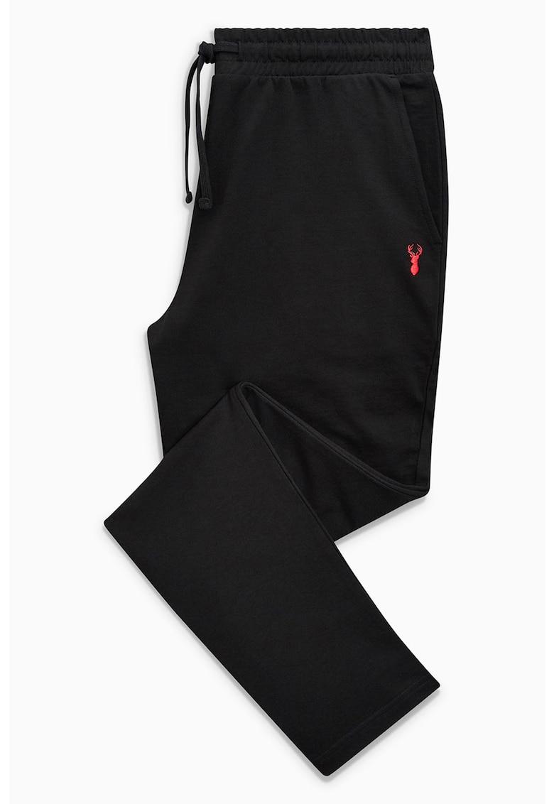 Pantaloni sport conici cu detaliu aplicat brodat
