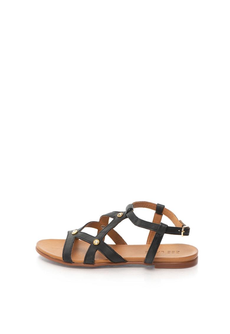 Sandale de piele cu aplicatii de strasuri Zee Lane