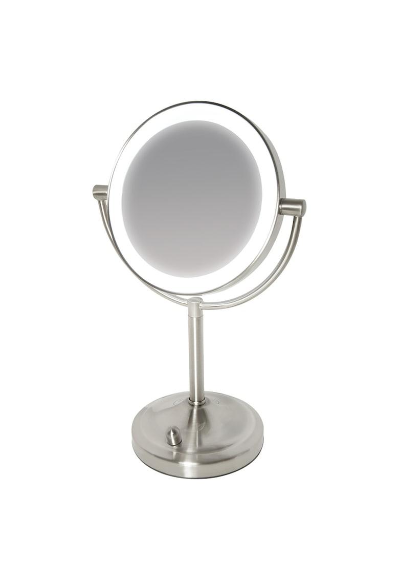 Oglinda cosmetica iluminata HoMedics - 2 fete: vizualizare normala si amplificare 7x - rotatie 360 grade - iluminare LED pe contur - Argintiu