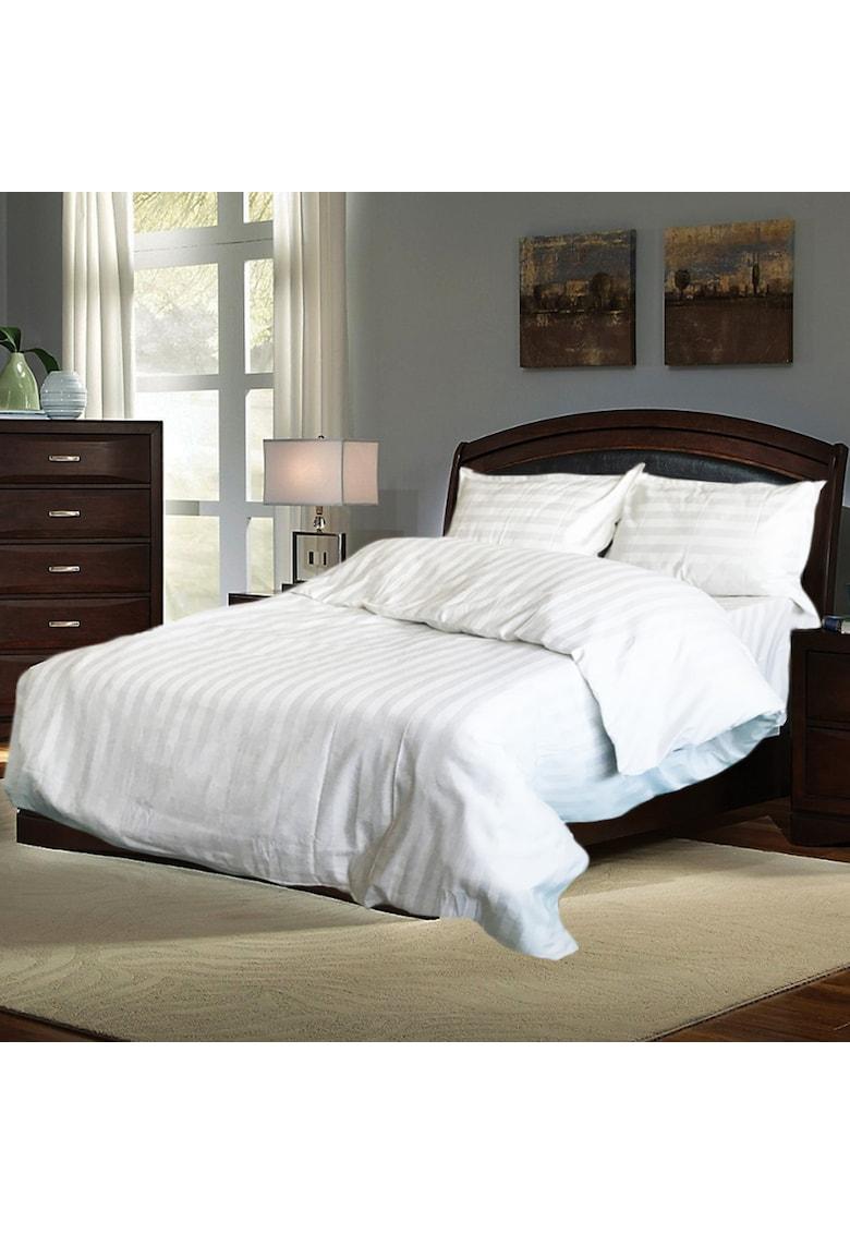 Lenjerie de pat pentru 2 persoane damasc - 100% bumbac - alb imagine fashiondays.ro