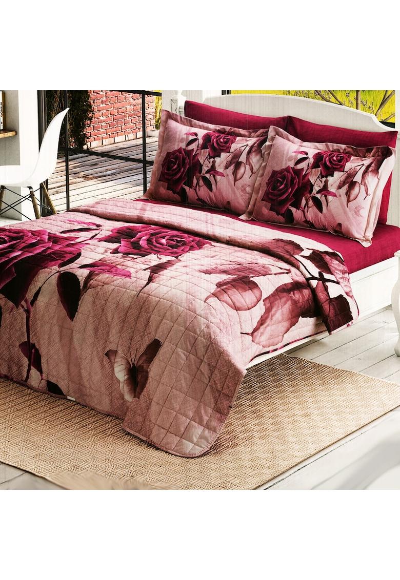Lenjerie de pat si cuvertura matlasata 200x220 cm - 100% bumbac - floral imagine fashiondays.ro 2021