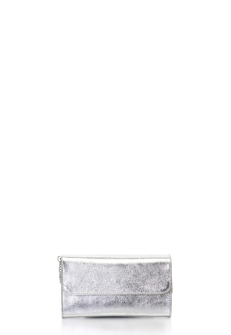 Geanta plic de piele cu bareta din lant - Argintiu