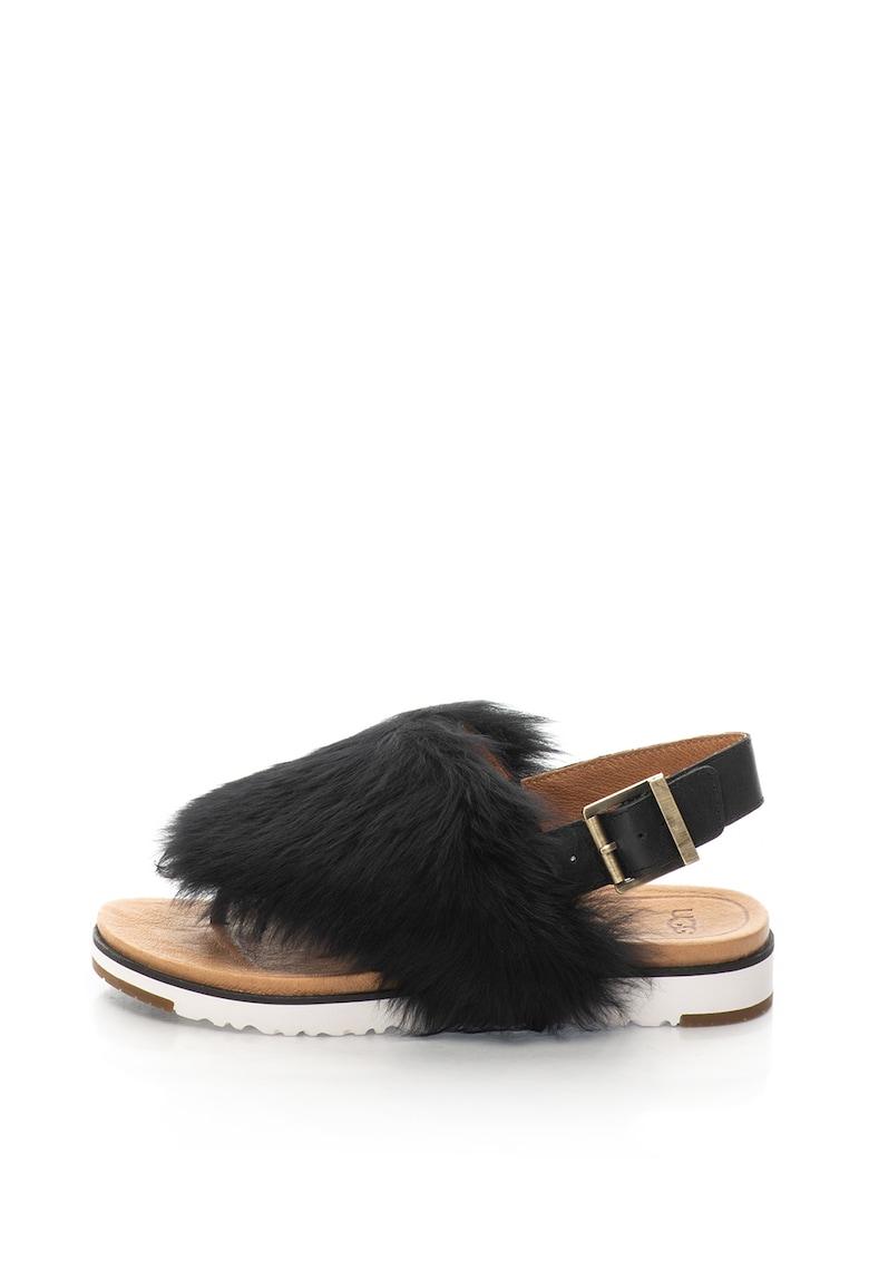UGG Sandale slingback de piele cu par scurt – cu bareta separatoare Holly