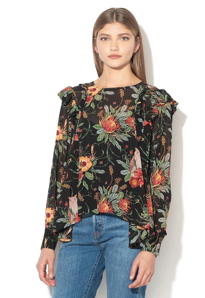 Bluza cu imprimeu floral si detalii cu volane Gala imagine